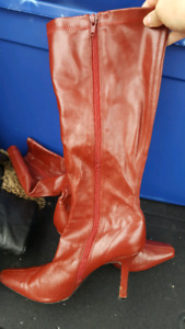 Red leather boots size 8