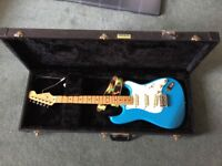 Fender squier guitar made in Japan in blue and in case