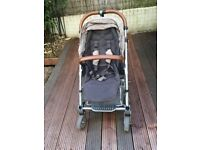 Mamas and Papas Urbo2 pushchair with foot muff and Maxi Cosi car seat
