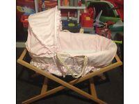 Mammas and Pappas Pink Moses Basket with sheets and Moses basket mattress