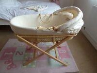 Mothercare Winnie-the-Pooh moses basket complete with folding stand, matress and 2 brand new sheets