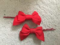 2x Red Bow Hair Slides