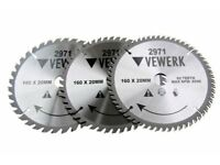 3x VEWERK TCT Circular Wood Saw Blades 160mm x 20mm 2971