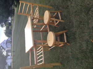 Hand crafted log furniture table/chairs/stool set
