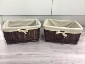 Wicker Baskets x 2