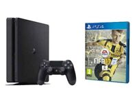 Ps4 slim with one controller, wires, and fifa 17