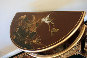 Rare Hand Painted Finish Hall Table & Matching Mirror SEE VIDEO