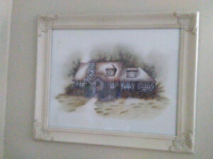 Hand painted oil painting stone house and garden shed framed