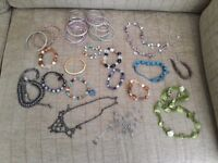 Various bracelets and necklaces decorative only