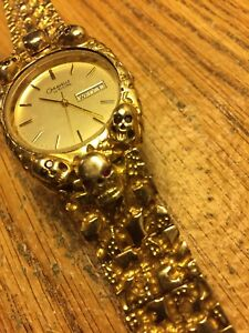10 Kt Gold Custom Made Watch Band With Skulls.