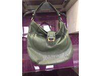 M&S green leather effect handbag vgc