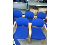 5 x Blue Conference Chairs, Good Condition - Collection Only - Barry