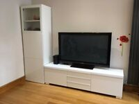 IKEA High gloss TV cabinet unit and side tall unit