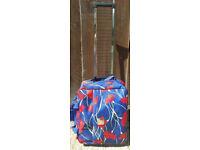 Tripp suitcase, wheelie, cabin size, blue w/ red poppies, 46 x 38 x 20cm