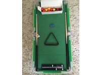 Child's Snooker Table. Length 93cm , width 43cm. All accessories included. Buyer to collect.