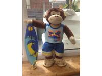 Build-a-Bear monkey with outfit and surf board