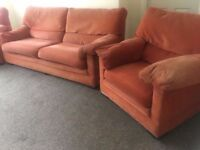 Terracotta orange Three Piece Sofa Set 3 Seater & 2 Single Armchairs very comfy clean can deliver