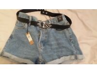 Ladies River island Denim shorts and belt. New with labels size 10