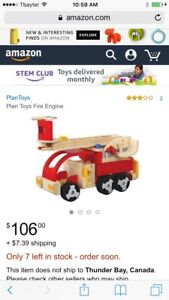 Wood fire engine toy