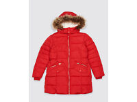As new. Red padded coat from Marks and Spencer's. Worn once. Collection from Langley Moor