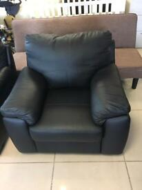 Two New Designer Black Leather 2 Seater Sofas And 1 New Black Leather Armchair