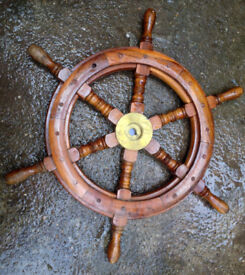 2 ships wheels, one Vetus stainless, one wooden