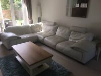 White/Cream All Leather Corner Sofa - bought for £3k 5 years ago, some wear, quick sale for £250 ONO