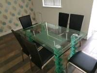 Original Italian Glass Dining Table Set with Leather and Chrome Chairs RRP £2750