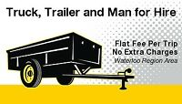 Truck, Trailer and Man for hire rent delivery moving