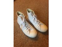 White Leather converse high tops size 10 shoe hi-tops men women unisex
