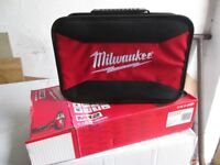 As new milwalkee drill driver bag holds charger, battery, drill or driver