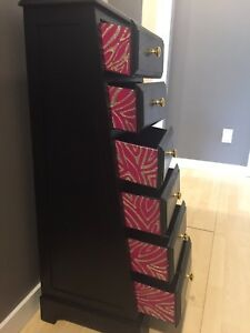Custom Dresser With Zebra Sparkles and Pink Peek-a-Boo Drawers
