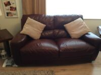 2 seater leather settee x 2