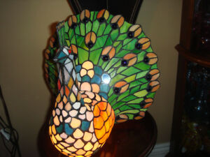 Large Tiffany Style Peacock Lamp