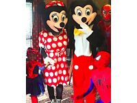 CLOWN & MASCOT hire MINNIE MICKEY MOUSE SPIDERMAN childrens entertainer BATMAN face painter painting