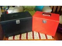 Two metal box files.