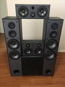 Home theatre speakers with Big Boom 10 amplifier