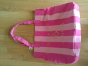 Victoria Secret pink striped reversible beach bag tote bag BNWT