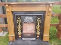136 Cast Iron Fireplace Fire Wood Tiled Insert Antique Victorian Style Surround