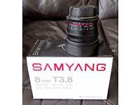 Samyang 8mm Diagonal Fish Eye Lens Nikon fit