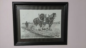 Two Framed Horse Framed Horse Pictures by artist J. Hill