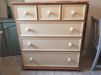 Beautiful Shabby Chic large Solid Pine chest of drawers