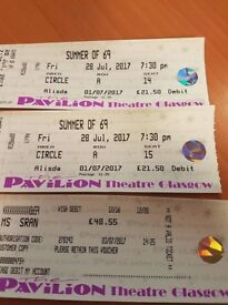 2 tickets for Sum mer of 69 Pavilion Theatre Glasgow