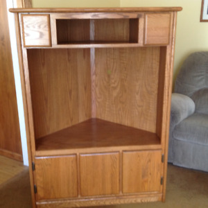Solid oak TV corner cabinet