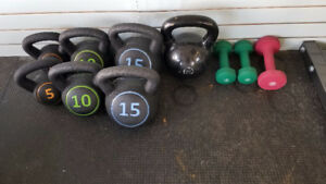 Kettle bells and light weights