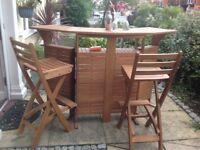 Wooden Folding Bar and Bar stools as new