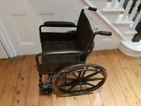 New Folding Self Propelled Wheelchair Black with Flip Up Removable Footrests