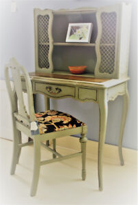 VINTAGE FRENCH PROVINCIAL DESK & CHAIR, REFINISHED