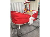 Baby 3 in 1 crib , chair ,crib and musical lights rocker with soft toys