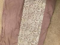 King size lilic bedspread with lace trim. Matching pillowcases